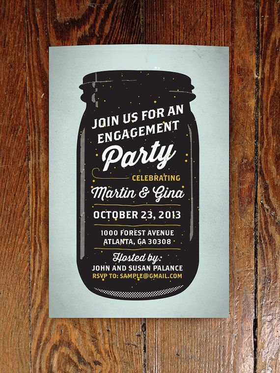 Vintage Mason Jar Engagement Party Invite - Printable! $12.00