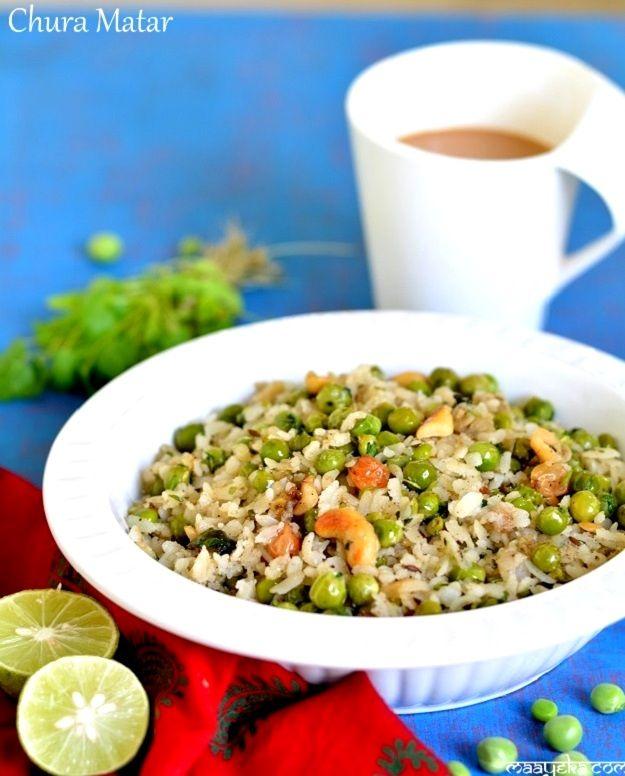 Chura Matar Recipe/ Bihari Mtar Poha  Peas and beaten rice snack- A specialty from Banaras and Bihar