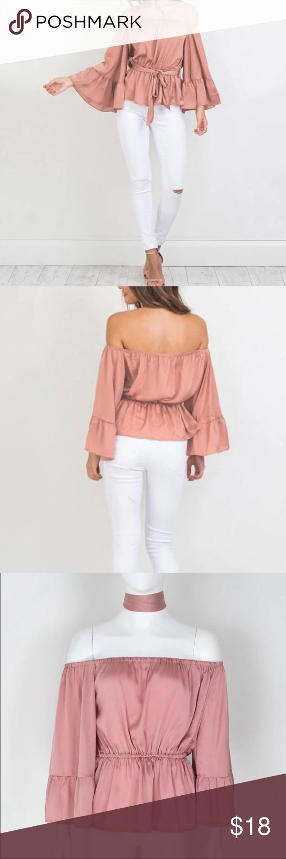 Peplum Rose Silk Top New || comes with silk ribbon to tie around the waist or neck || Crop Top  (not real silk) Boutique Tops Blouses