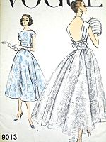 1950s GORGEOUS Evening Party Dress Pattern VOGUE 9013 Front Bateau Neckline Low Back Fitted Midriff Dress With Fullness At Back Bust 32 Vintage Sewing Pattern FACTORY FOLDED