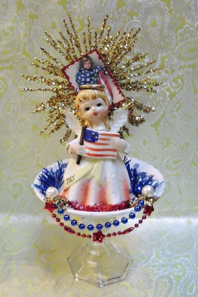 Vintage 4th of July Pedestal with Vintage JAPAN Figurine & Fourth of July Image