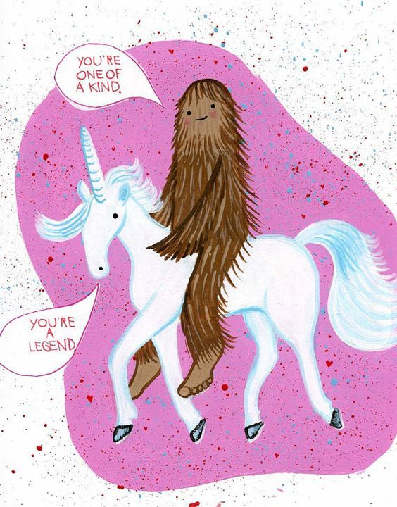 Bigfoot Unicorn Illustrated Card From Etsy