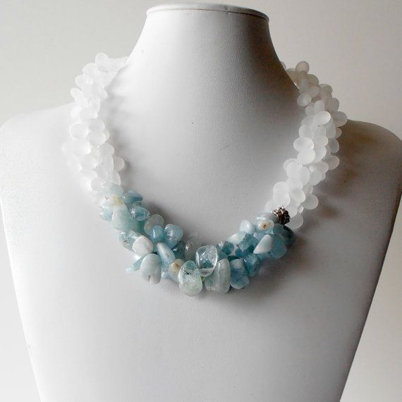 Chunky Necklace Aquamarine Gemstone Jewelry Light Blue and White Beaded Multistrand in Silver