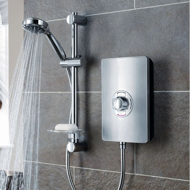 Triton Aspirante Electric Shower - Brushed Steel : UK Bathrooms