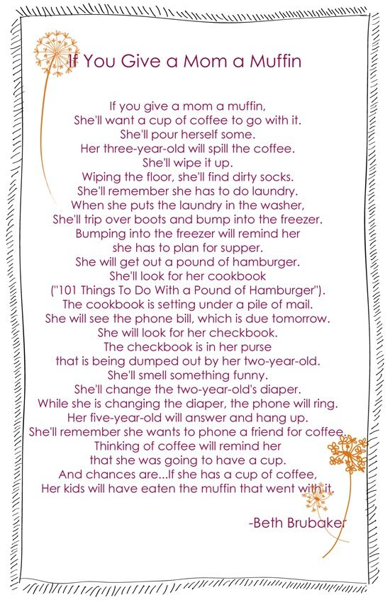 Poem to share at first meeting (or the interest meeting) with a muffin for each momma
