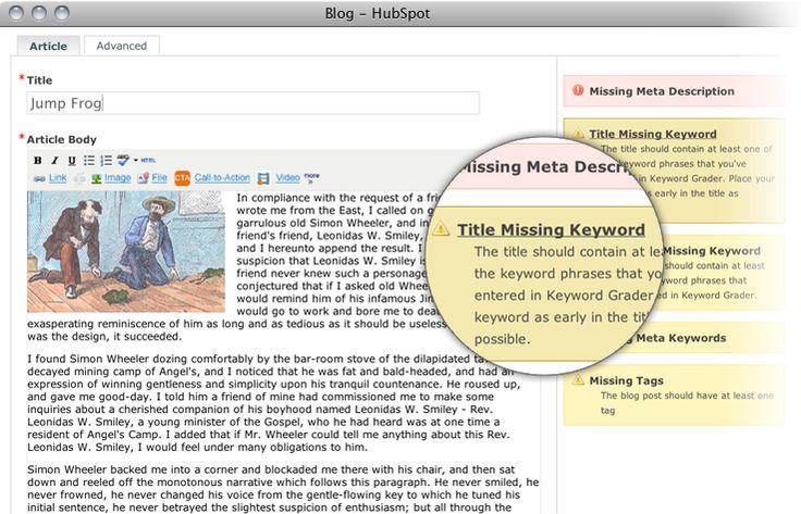 Blogging is key for SEO. HubSpot's blogging tool walks you through optimizing your post no prob. http://www.hubspot.com/products/blogging-social-media/