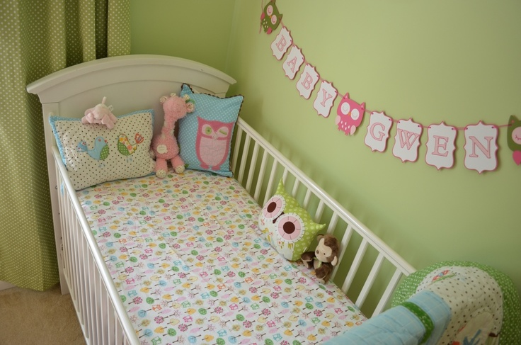 Owl Baby Girl Room - Pottery Barn Inspired - woodland creature sheets