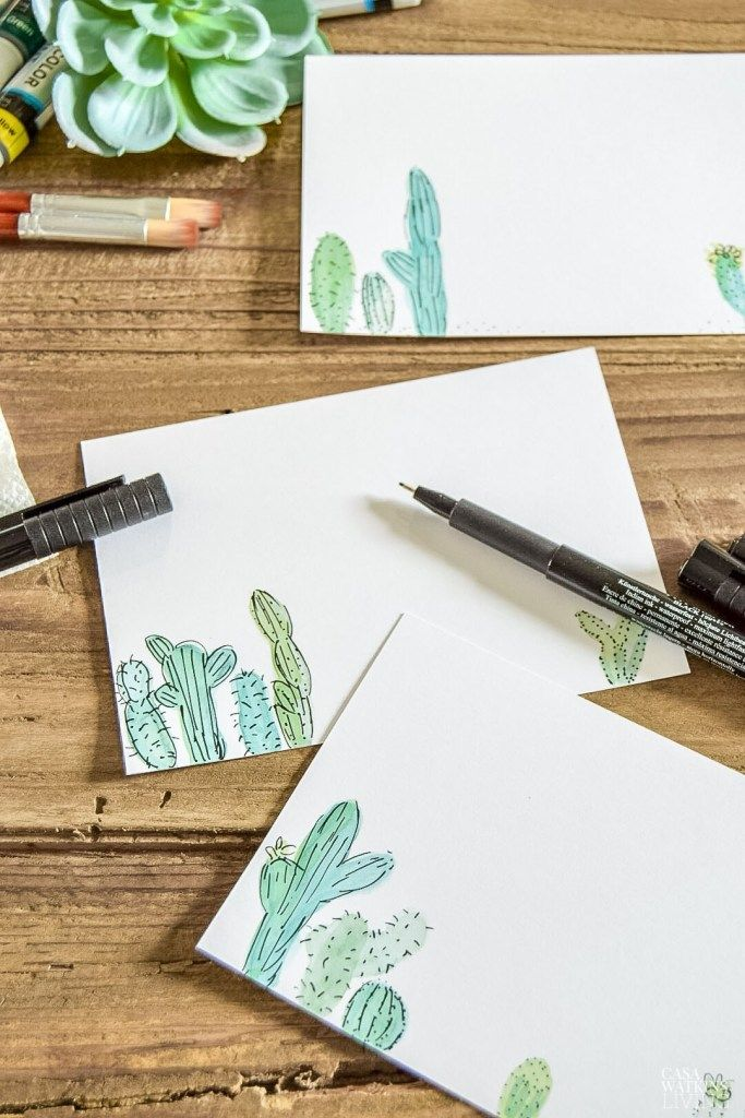 Diy Watercolor Cactus Notecards Diy Note Cards Watercolor