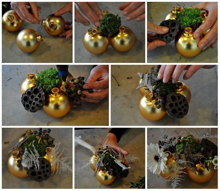 collage kerstballen kerststukje