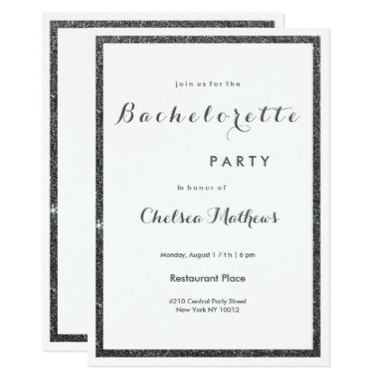 Modern white black faux glitter Bachelorette Card - party gifts gift ideas diy customize