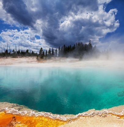 West Thumb Geyser Basin in Yellowstone National Park *Remember to try to go to that basin Parker, Dad, and I hiked to that was more remote. Less tourists...