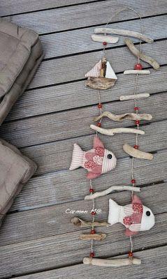 .mobile poisson bois flotté