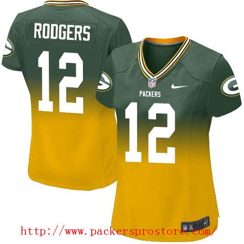 ... Mens Jersey Nike NFL 12 Green Bay Packers Aaron Rodgers GreenGold  Fadeaway Limited Womens Jersey ... 3fc48ab29