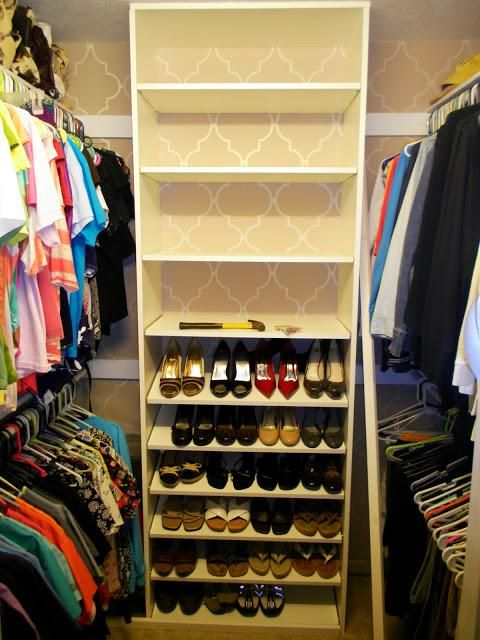 This is as close to my closet ive seen. nice to compare apples to apples. i want to do this .. bedroom closet for shoes (from floor to ceiling) in the middle of the closet