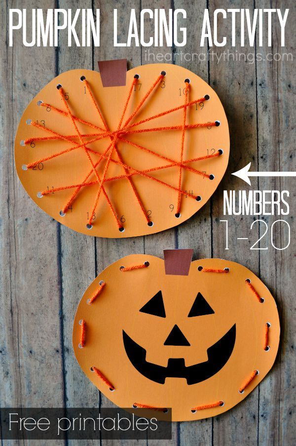 Preschool Pumpkin Lacing Activity. Printable for lacing numbers 1 to 20 or a blank version for traditional lacing around the pumpkin. Great preschool Halloween learning activity.