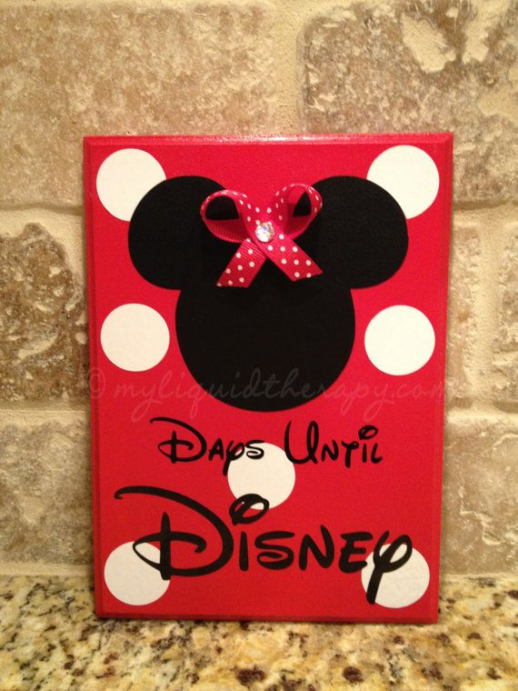 Minnie with Bow Disney World Disneyland Vacation Chalkboard Countdown Calendar READY TO SHIP  (First Class Standard Shipping) via Etsy