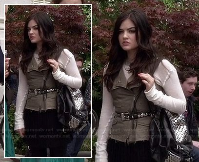 Aria's khaki vest with pleated skirt and studded backpack on Pretty Little Liars.  Outfit Details: http://wornontv.net/16463/ #PLL