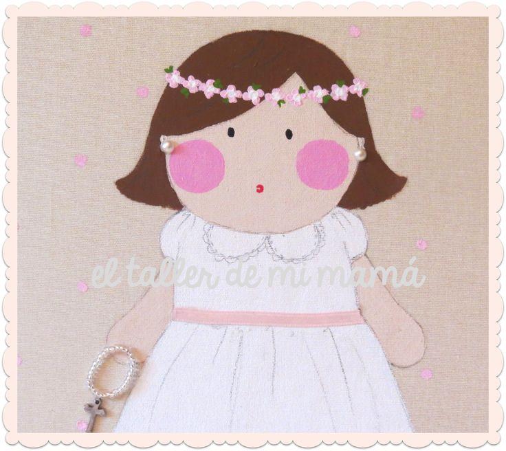 Álbum de fotos para niña de comunión. Personalizada con rasgos de la niña
