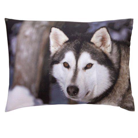 """Taie d'oreiller rectangulaire photo-impression """"chien de traineau"""" en pur coton - 3Suisses"""