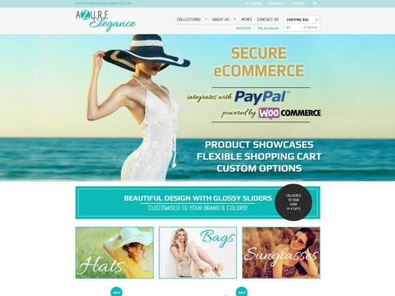 Looking for a light and fresh #websitedesign? Check out the Azure Elegance an #ecommerce #website packed with all the great features like e-newsletter subscriptions, home page slider and #socialmedia functionality.