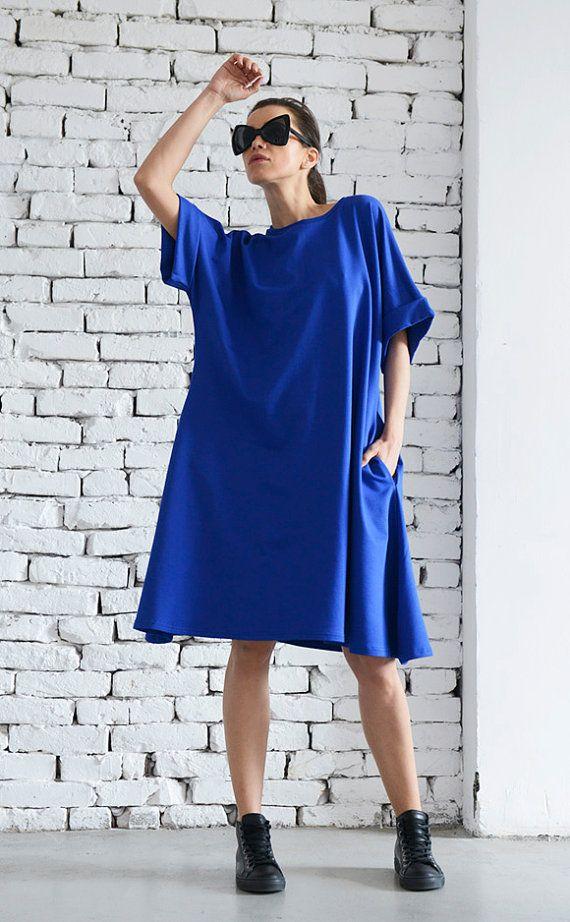 """Tunique/robe style """"Boyfriend"""" Maxi courte bleu dessus/Casual robe avec manches courtes/plié manches robe/Plus Size Maxi robe/Long haut bleu"""