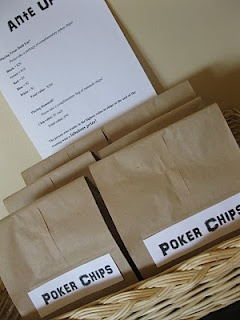Ante up - chip values, instructions for the nite. Pre-packaged chip bags