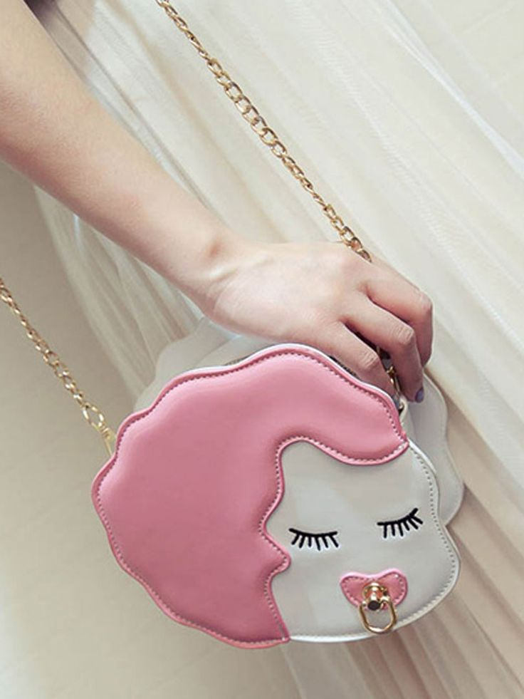 Pink Cute Cartoon Girl Chain Strap Detail Cross Body Bag