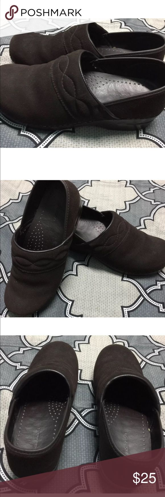 Lands End size 10 Clogs Suede Brown Slip On These women's suede clogs from lands end are a size 10 and in new never worn condition: Please see condition report. All of my items come from a smoke free home. Thanks for looking! Lands End  Shoes Mules & Clogs