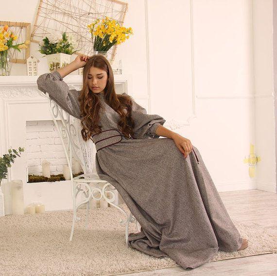 Tweed Winter Maxi  Dress / Long Wool Dress / Maxi dress with