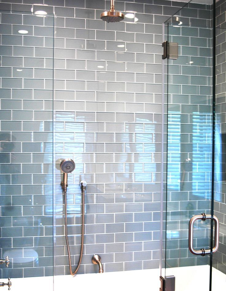 ocean blue grey glass subway tiles in gorgeous modern shower httpswww - Bathroom Designs Using Glass Tiles