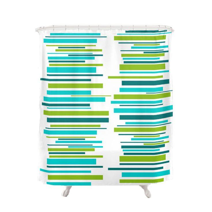 Modern Shower Curtain, Mod Shower Curtain,  Teal, Striped Shower Curtain, Mid Century Modern Shower Curtain, Retro Shower Curtain by crashpaddesigns on Etsy https://www.etsy.com/listing/468451469/modern-shower-curtain-mod-shower-curtain