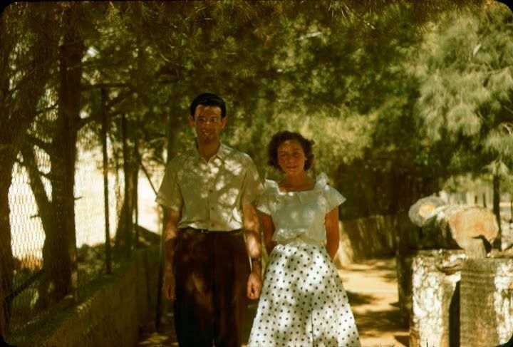 Seymour Katcoff and his fiancée in Jerusalem, July 1950. The Katcoff collection. סימור קטקוף וחברה אוסף קטקוף