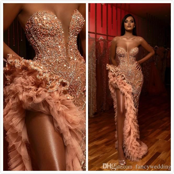 Aso Ebi 2019 Arabic Luxurious Evening Dresses Beaded Crystals Sheath Prom Dresses High Split Formal Party Bridesmaid Pageant Gowns ZJ126 Black Formal Gowns Blue Evening Dresses From Fancywedding, $308.55  DHgate.Com