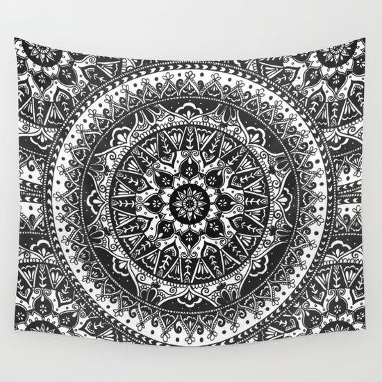 Black and White Mandala Pattern Wall Tapestry by Laurel Mae   Society6