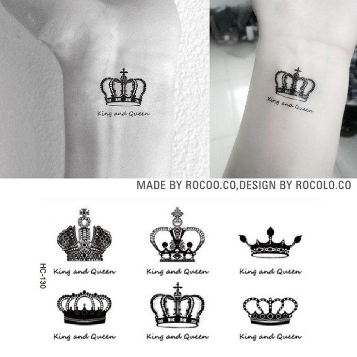 Super Creative Waist Leg Makeup Queen King Crown diamond Tattoo Waterproof Temporary Tattoo Stickers For Men Woman HC1130