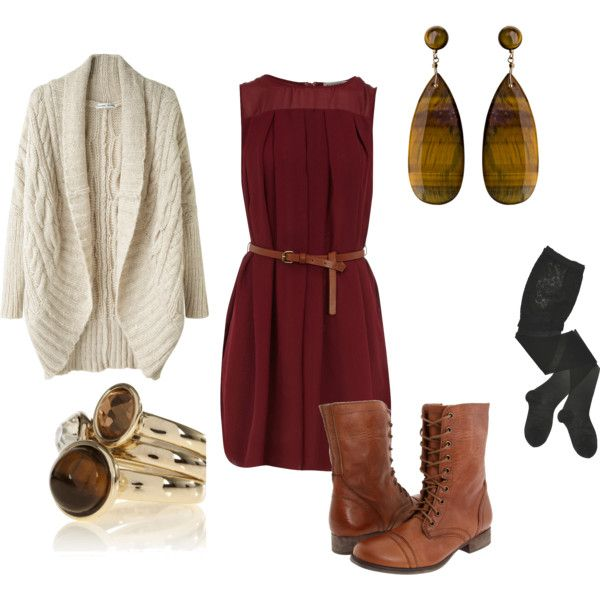 """cranberry dress. casual."" by chernem on Polyvore"