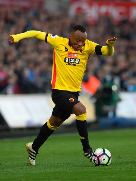 Watford player Juan Zuniga in action during the Premier League match between Swansea City and Watford at Liberty Stadium on October 22, 2016 in Swansea, Wales.