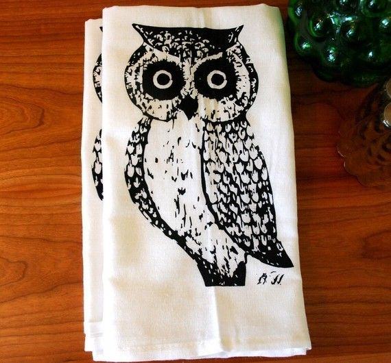 Screen Printed Owl Towel Set Of Two By Branchhandmade
