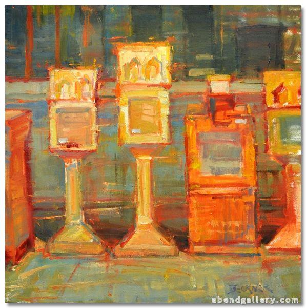 "Jim Beckner | ""News Stands in Orange"" | Abend Gallery Fine Art"