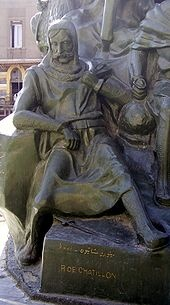 Raynald depicted in captivity as part of a statue of Saladin in Damascus, Syria; was a knight who served in the Second Crusade and remained in the Holy Land after its defeat. He ruled as Prince of Antioch from 1153 to 1160 and through his second marriage became Lord of Oultrejordain. He was an enormously controversial character in his own lifetime and beyond. 1125-1187
