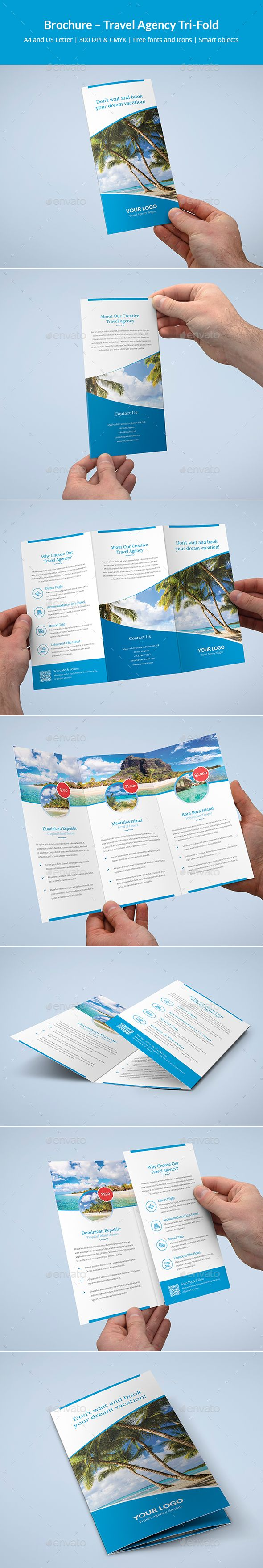 Brochure �20Travel Agency Tri-Fold by artbart This is a brochure for many applications. You can easily edit and adapt to your business, as well as travel agency, travel office,