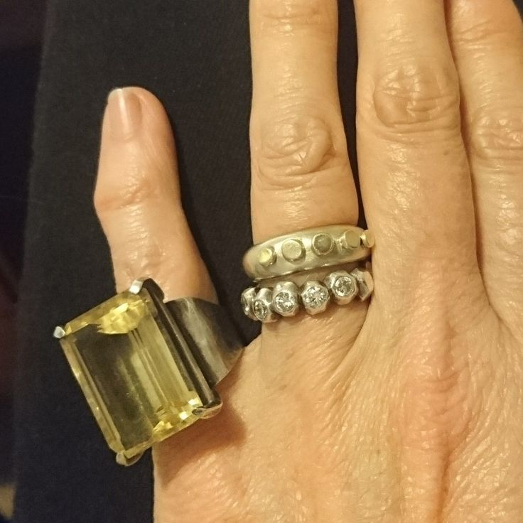 Citrine and silver ring, diamond band and gold and silver stud band