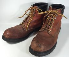 Vintage Red Wing Mens 13 Safety Work Boots Steel Toe Brown Leather 1/75 USA 1975