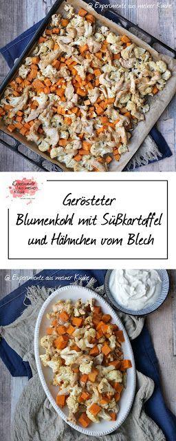 Gerösteter Blumenkohl mit Süßkartoffel und Hähnchen vom Blech   Ofengemüse   Rezept   Kochen   Essen