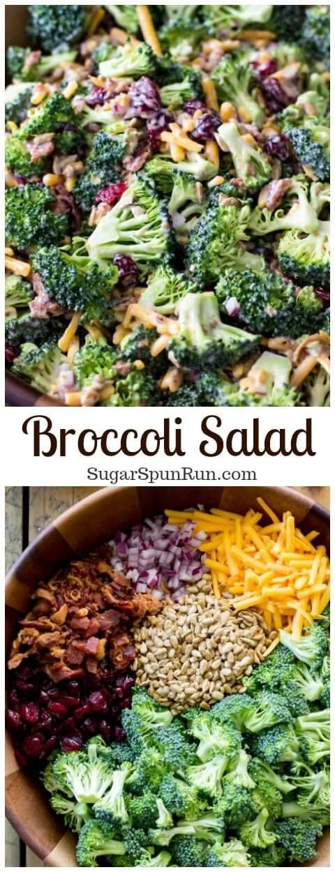 A simple, classic broccoli salad with bacon that serves as a great fast side dish for any party or potluck. Includes a simple homemade dressing.