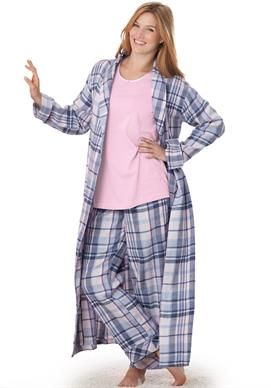Plaid flannel robe by Dreams & Co.® | Plus Size Robes & Slippers | Woman Within