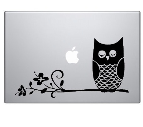 Owl on branch laptop notebook computer decal vinyl graphic sticker art signtransfer