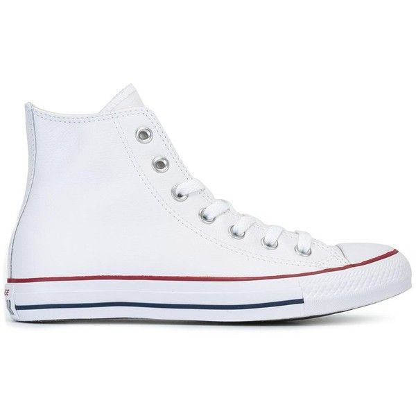 Converse 'Chuck Taylor All Star' hi-top sneakers ($129) ❤ liked on Polyvore featuring shoes, sneakers, white, leather high top sneakers, white leather high tops, white leather sneakers, leather high tops and high-top sneakers