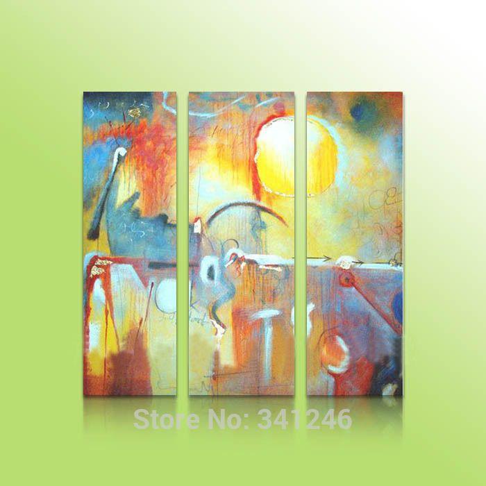 Ручная роспись современный свисают стены искусства украшения дома абстрактный гостиная зал желтый рисунки группа маслом на холсте в рамке