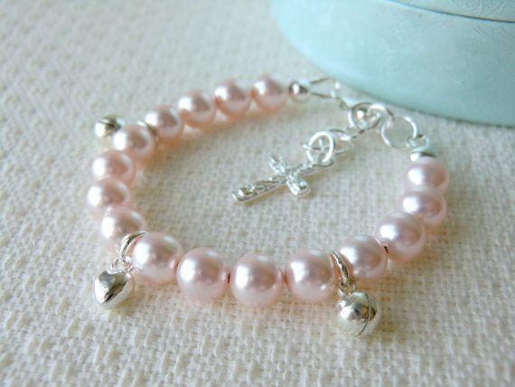 Pink Baby Charm Bracelet for Christening Baptism or Communion Flower Girl Bracelet Baby Shower Gift Pearl Bracelet Sterling Silver Bracelet